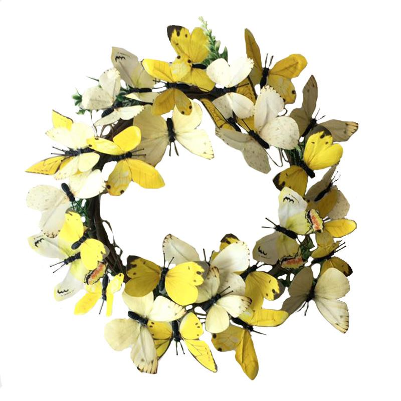 Lg Yellow Paper But'fly Wreath