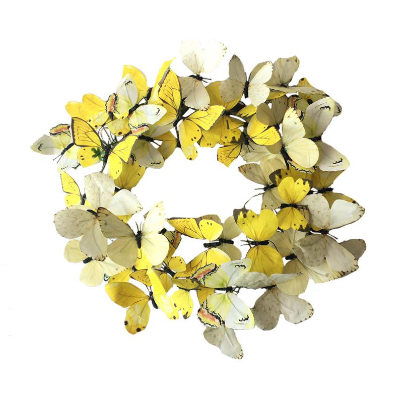 Med Yellow Paper B'fly Wreath