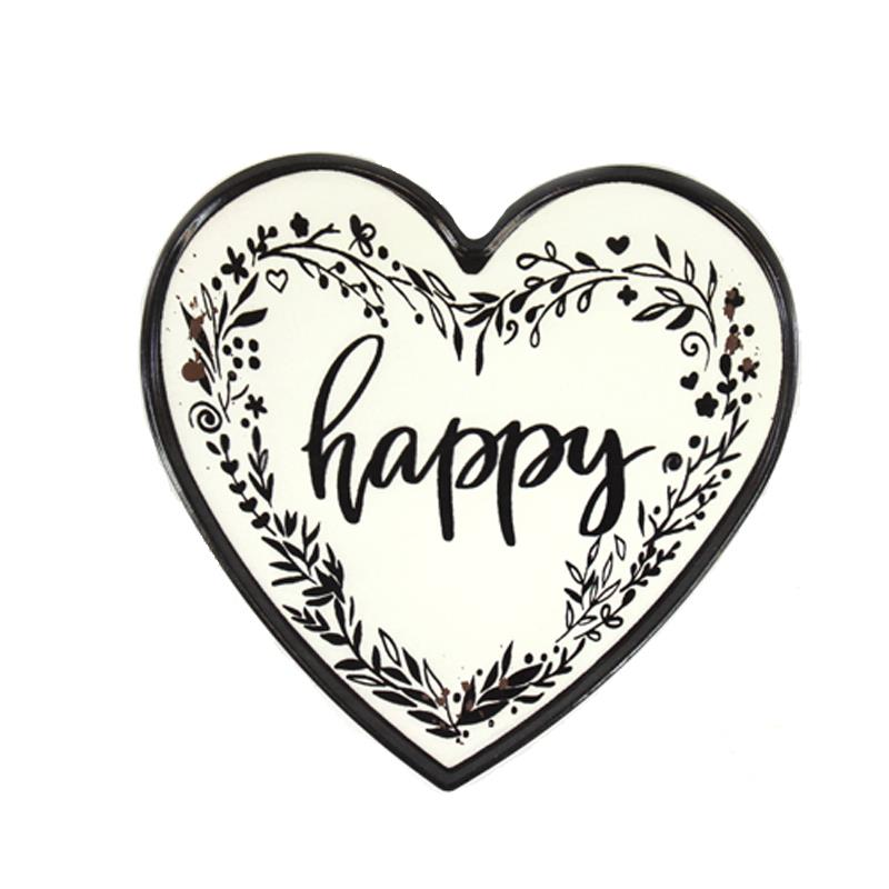Enamel Heart Plaque Happy