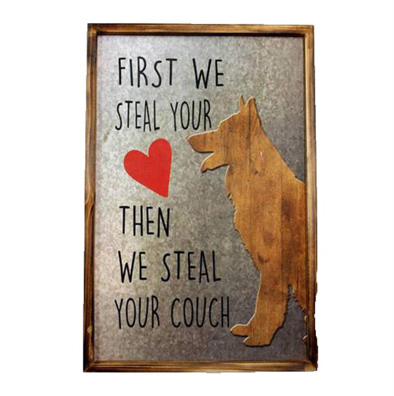 Dog Steals Hearts Plaque