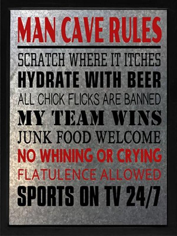 Man Cave Rules Plaque *