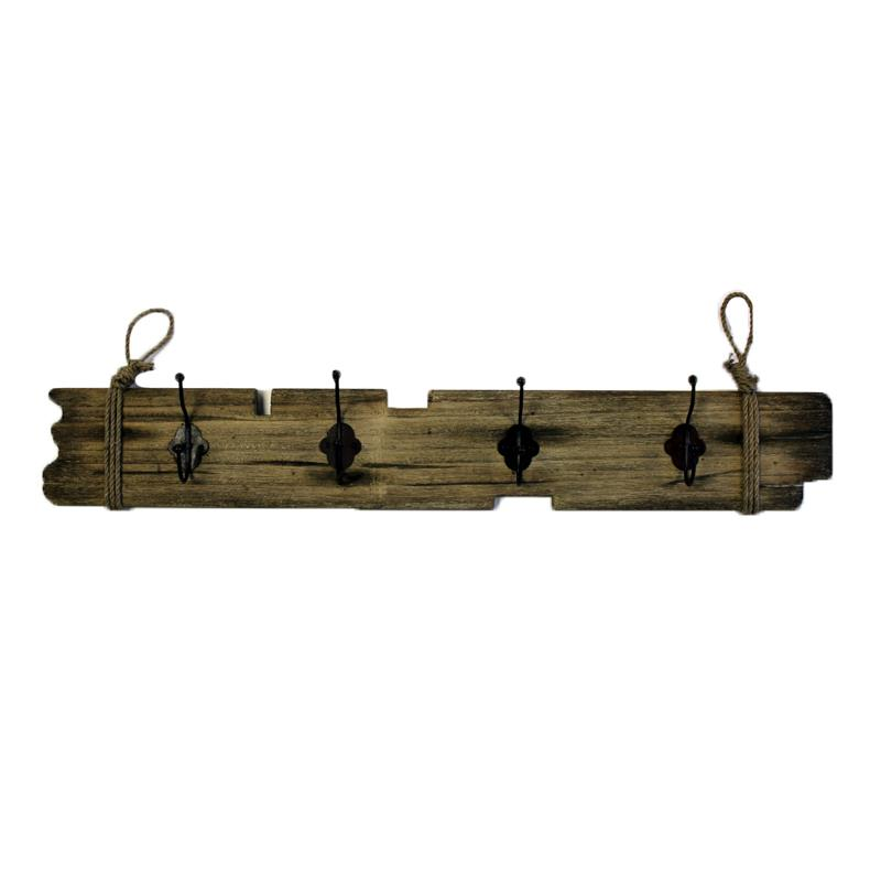 Wood Plaque With Hooks
