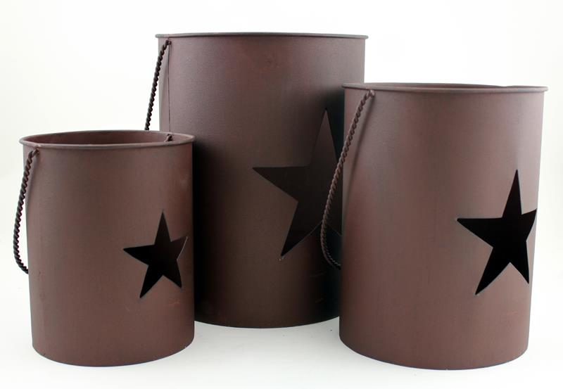 Mtl S/3 Brown Candle Pots