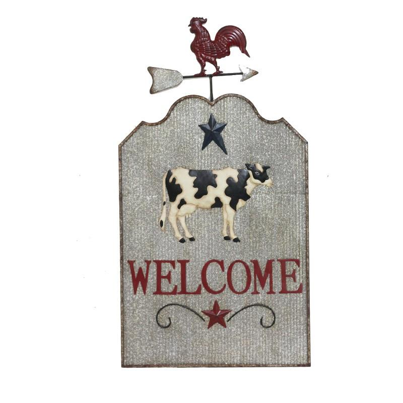 Rooster & Cow Welcome Sign