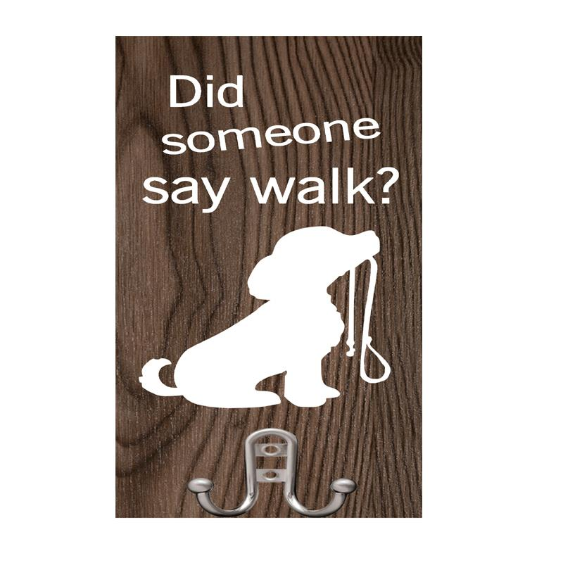 Dog Walk Plaque with Hooks