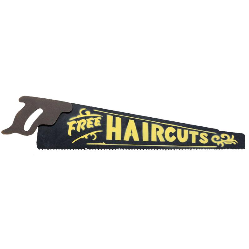 Saw  Plaque - Free Haircuts