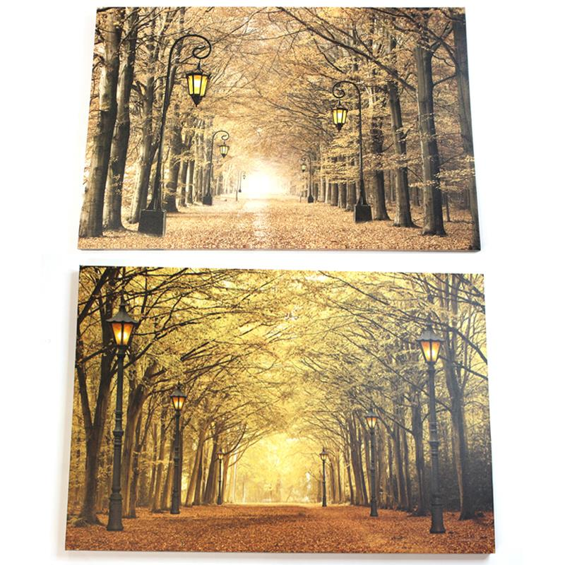 LED Fall Scene Canvas 2 Asst