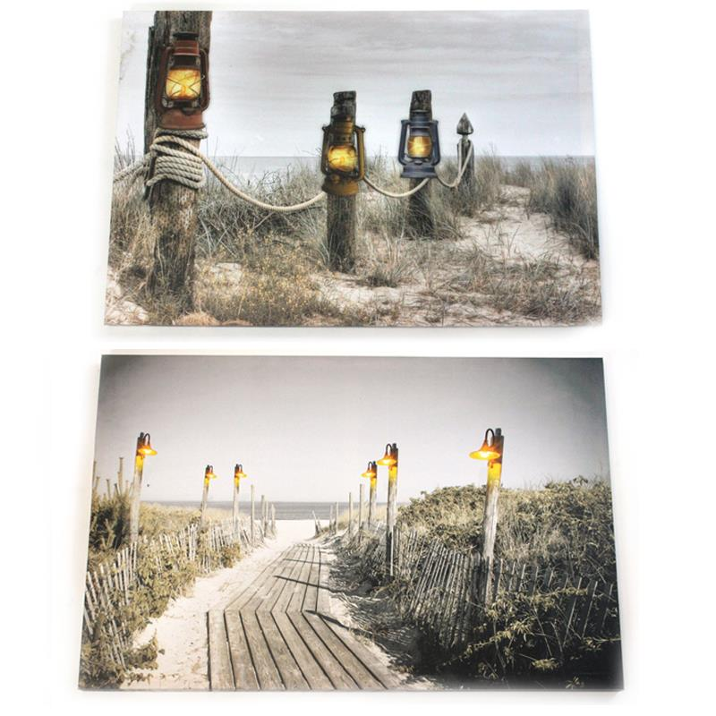 LED Beach Path Canvas 2 Asst