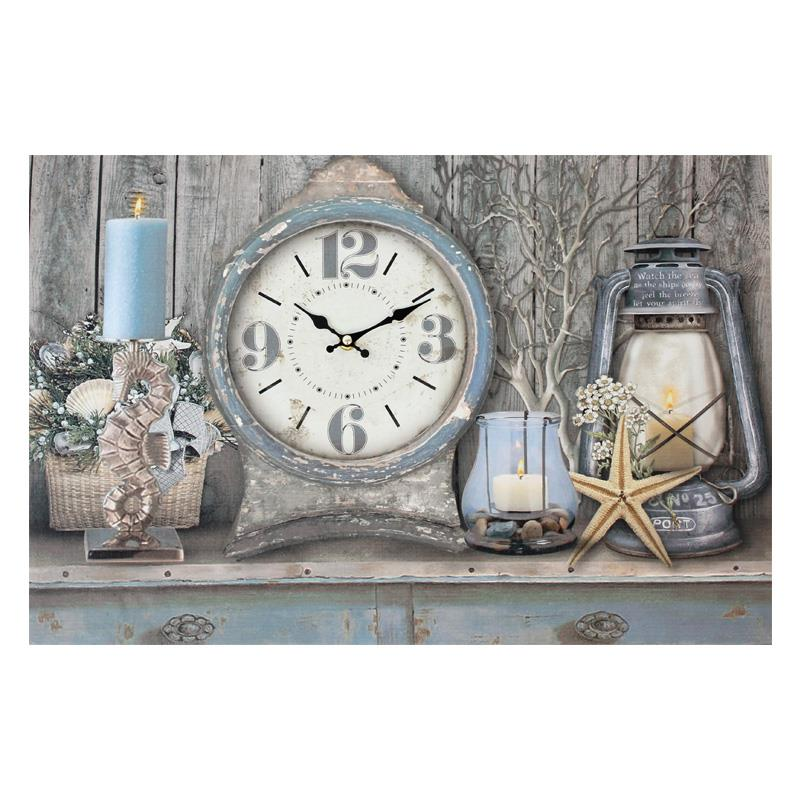 LED Nautical Canvas With Clock