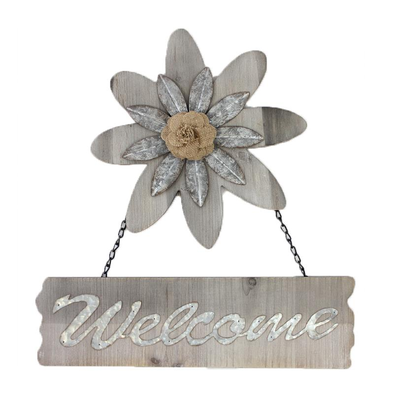 Welcome Plaque With Flower