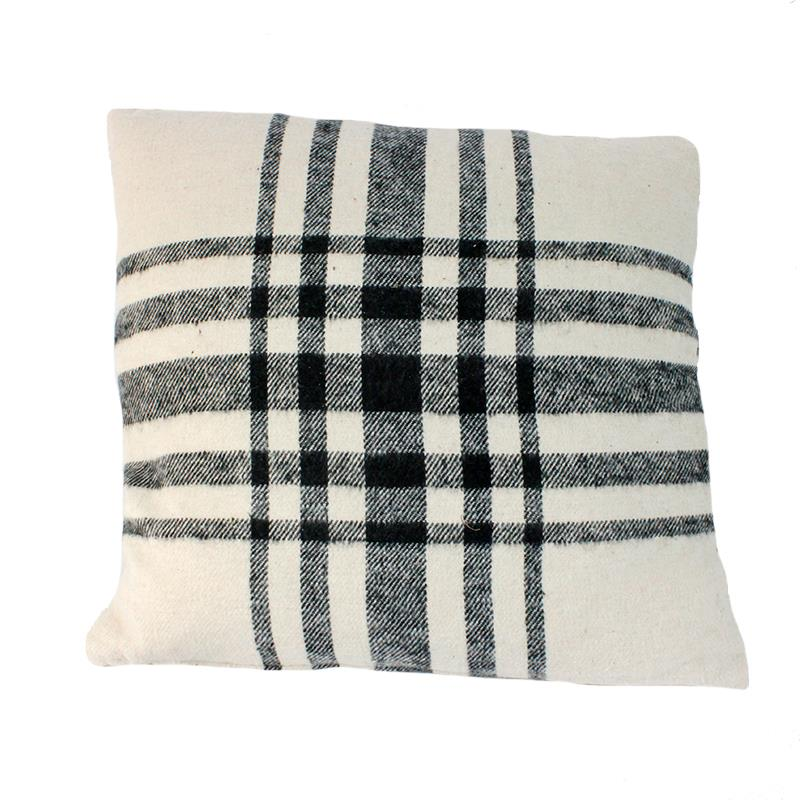 Throw Pillow Grey Plaid