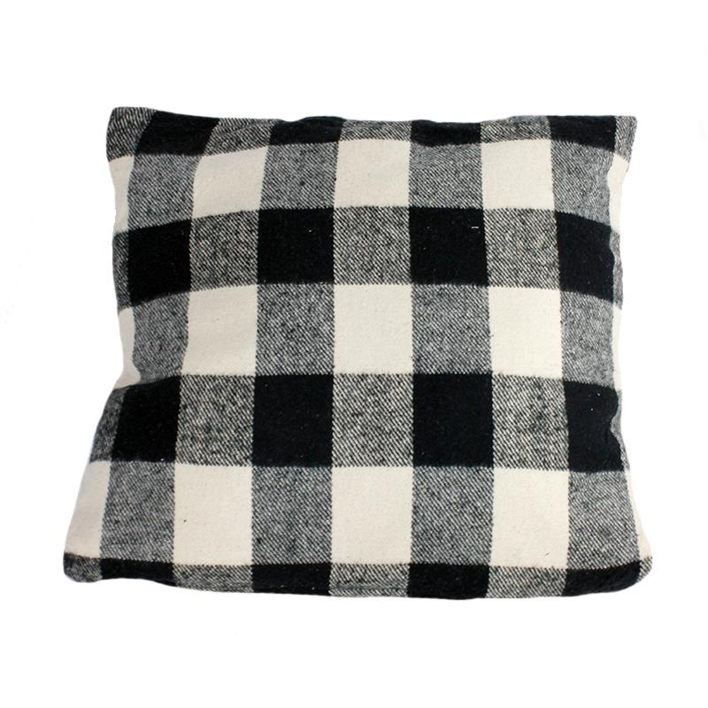 Throw Pillow Buffalo Plaid B&W