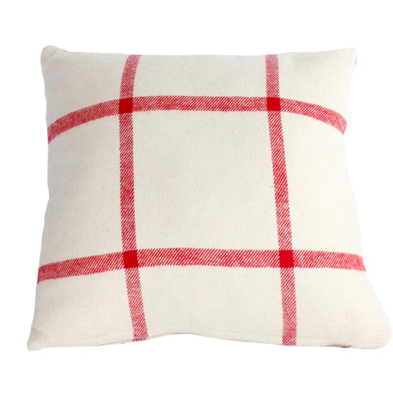 Throw Pillow Ivory w Red Strip