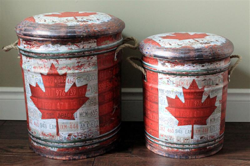 Set of 2 Canada Flag Ottomans