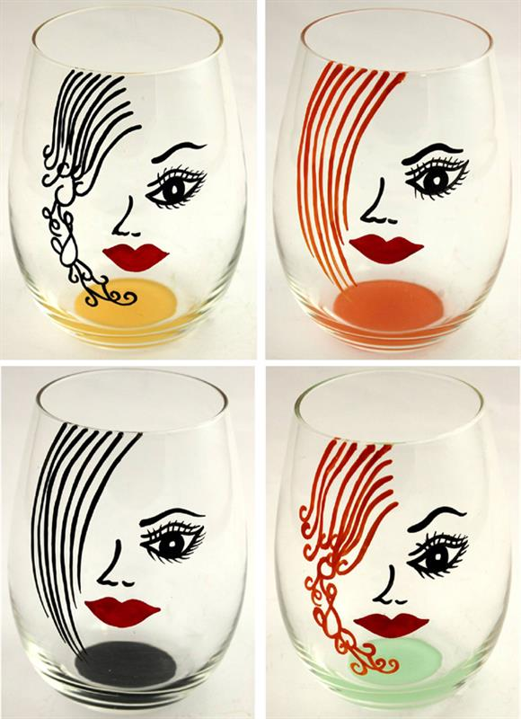 Face Wine Glass 4 Assorted