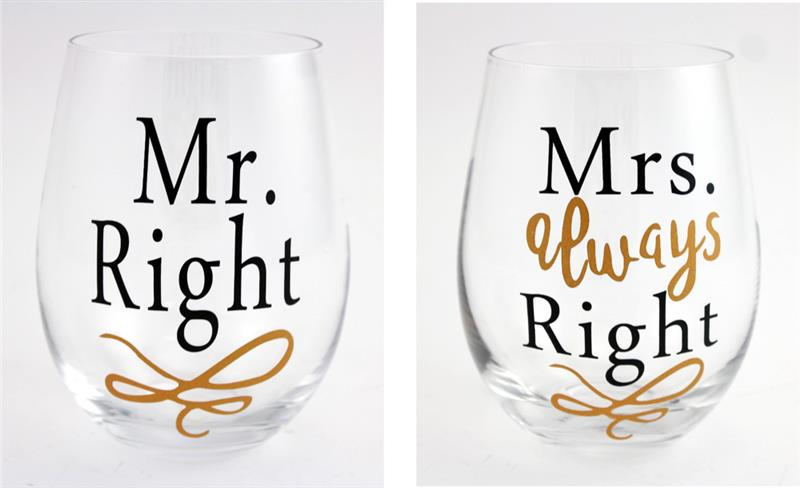 MR & MRS Wine Glass