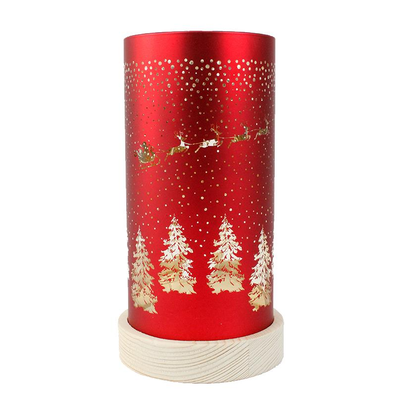 Red LED Santa Sleigh Lantern
