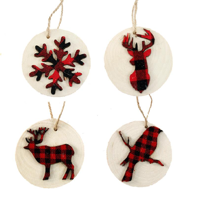 4 Assorted Round Tree Ornament