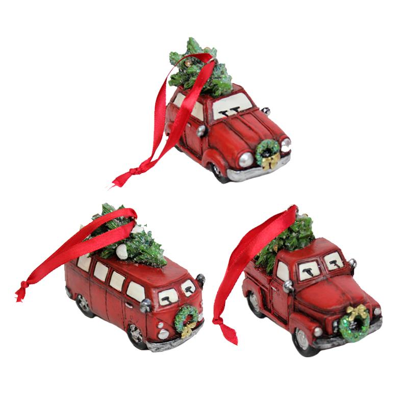 3 Asst Car Tree Ornament