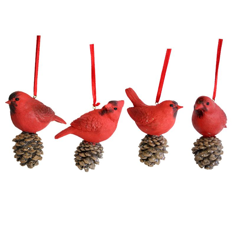 4 Asst Red Bird Ornament