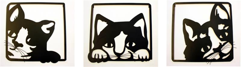 Cats Wall Decor 3 Assorted